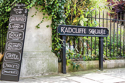 Photograph - Radcliffe Square Sign, Oxford, England, Uk by Tom Rydel