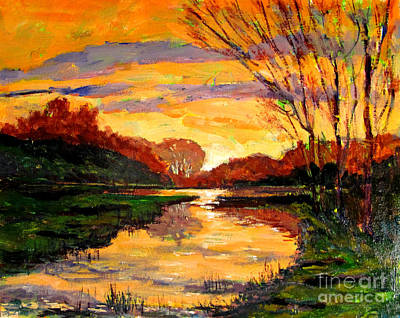 Early Spring Painting - Raders Pond Day Break Sold by Charlie Spear