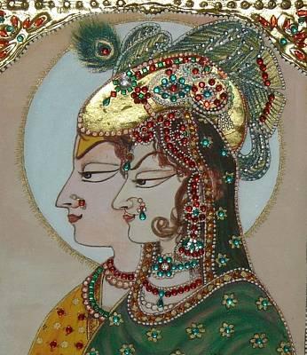 Radha Krisan Mughal Style Print by Anju Mittal