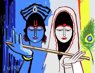 Digital Art - Radha Krishna-a by Anand Swaroop Manchiraju