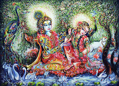 Painting - Radha Krishna - Divine Lovers  by Harsh Malik