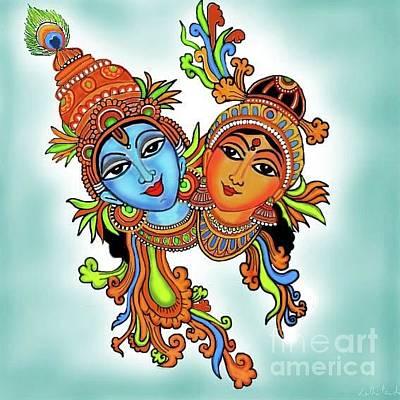 Digital Art - Radha With Her Krishna by Latha Gokuldas Panicker