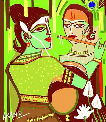Digital Art - Radhakrishna-2 by Anand Swaroop Manchiraju
