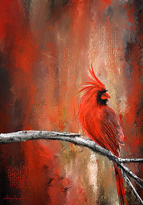 Cardinal Bird Painting - Radiance In Red - Northern Cardinal Art by Lourry Legarde