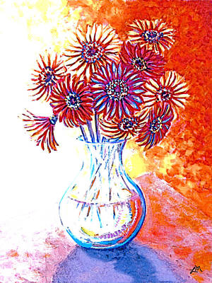 Red Flowers Painting - Radiant Array by Linda Mears