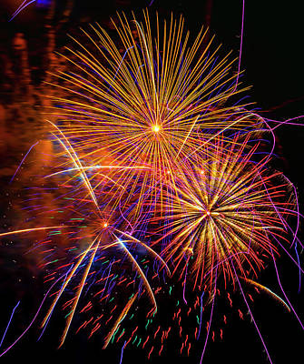 Photograph - Radiant Colorful Fireworks by Garry Gay