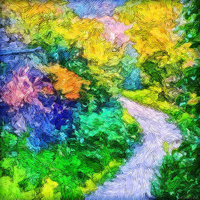 Digital Art - Radiant Garden Pathway - Trail Through Santa Monica Mountains by Joel Bruce Wallach
