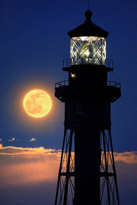Photograph - Radiant Lighthouse Moonrise by Justin Kelefas