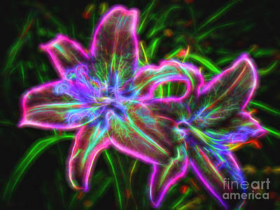 Photograph - Radiant Neon Lilies by Sue Melvin