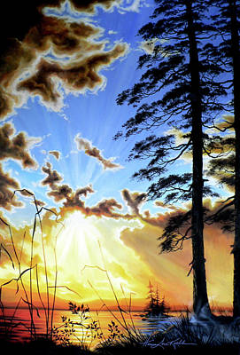 Misty Morning Painting - Radiant Reflection by Hanne Lore Koehler