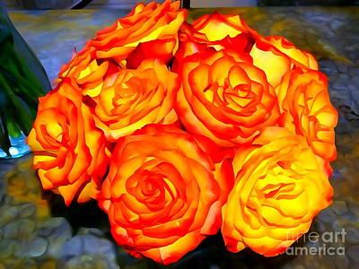 Digital Art - Radiant Roses by Ed Weidman
