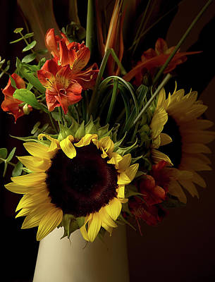Photograph - Radiant Sunflowers And Peruvian Lilies by Marie Hicks