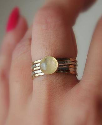 Silver-filled Mixed Media - Radiating Moonstone Cabochon Sterling Silver And 14k Gold Filled Artisan Crafted Stackable Rings by Nadina Giurgiu