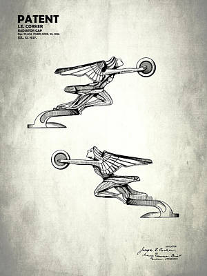 Radiator Cap Photograph - Radiator Cap Patent 1927 by Mark Rogan
