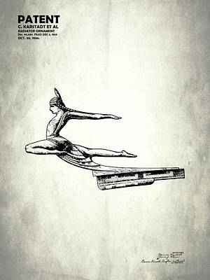 Radiator Cap Photograph - Radiator Cap Patent 1934 by Mark Rogan