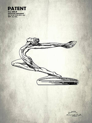 Radiator Cap Photograph - Radiator Ornament Patent 1933 by Mark Rogan