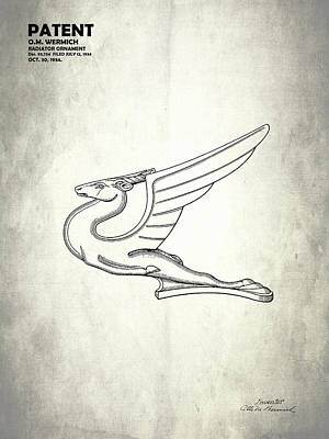 Radiator Cap Photograph - Radiator Ornament Patent 1934 by Mark Rogan