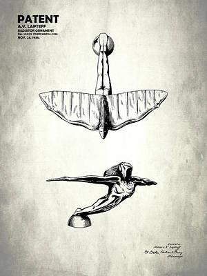 Radiator Cap Photograph - Radiator Ornament Patent 1936 by Mark Rogan