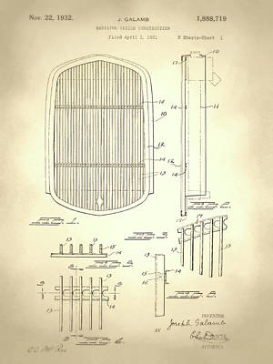 Digital Art - Radiator Shield Patent Sepia by David King