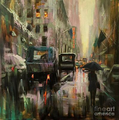 Painting - Rainy At Radio City Music Hall by Chin H  Shin