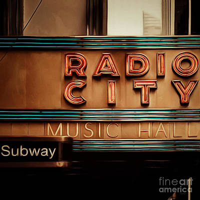 Photograph - Radio City Music Hall Rockefeller Center Midtown Manhatten New York City Painterly 20170917 Square by Wingsdomain Art and Photography