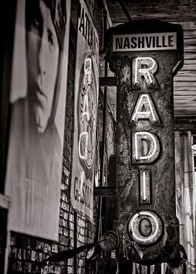 Nashville Sign Photograph - Radio Nashville - Monochrome by Stephen Stookey