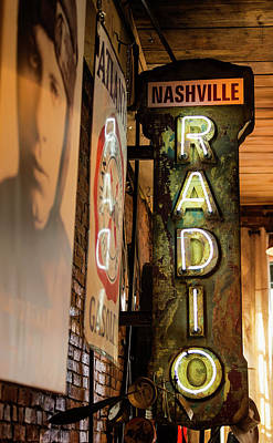 Grand Ole Opry Photograph - Radio Nashville Sign by Stephen Stookey