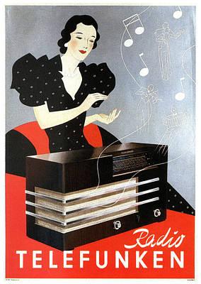 Mixed Media - Radio Telefunken - Tele Radio - Vintage German Advertising Poster by Studio Grafiikka