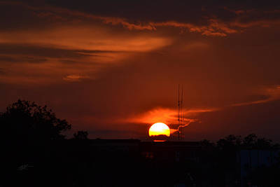 Photograph - Radio Tower In The Sun Going Down by rd Erickson