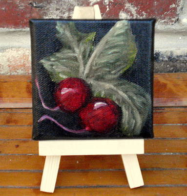 Painting - Radishes Miniature With Easel - Sold by Susan Dehlinger