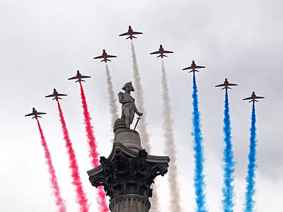 Photograph - Raf 100 Flypast Red Arrows Over London by Gill Billington