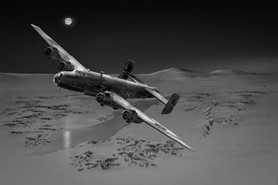 Photograph - Raf Halifax Soe Drop Bw Version by Gary Eason
