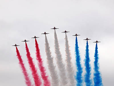 Photograph - Raf Red Arrows Hawk T1 Display by Gill Billington