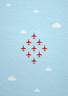 Jet Photograph - Raf Red Arrows In Formation by Samuel Whitton