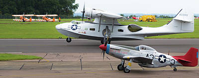 Photograph - Raf Scampton 2017 - P-51 Mustang With Pby-5a Landing by Scott Lyons