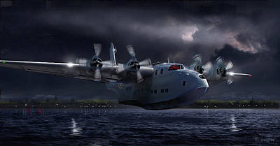 Digital Art - Raf Short Solent Full Moon Landing by James Vaughan