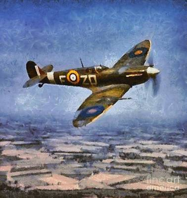 Hurricane Painting - Raf Spitfire, Wwii by Mary Bassett