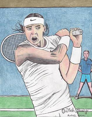 Us Open Drawing - Rafael Nadal by Odinel Pierre    junior