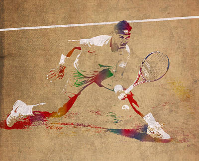 Tennis Mixed Media - Rafael Nadal Tennis Star Watercolor Portrait On Worn Canvas by Design Turnpike