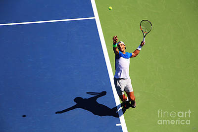 Athletes Royalty-Free and Rights-Managed Images - Rafeal Nadal Tennis Serve by Nishanth Gopinathan