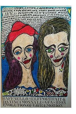 Raffaello Selfportrait And Da Vinci Monna Lisa Fashion Evolution Of Life Emotion Original