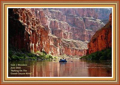 Impressionist Landscapes - Rafting On The Grand Canyon River. L A With Decorative Ornate Printed Frame. by Gert J Rheeders
