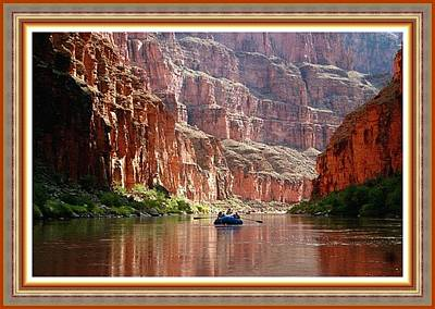 Rafting On The Grand Canyon River. L B With Alt. Decorative Ornate Printed Frame. Print by Gert J Rheeders