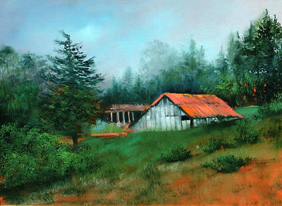 Ragged Point Barn Art Print by Sally Seago
