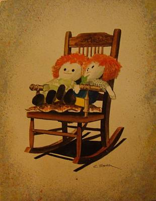 Raggedy Ann And Raggedy Andy Take A Break Art Print by Charles Roy Smith