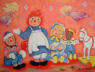 Raggedy Ann Painting - Raggedy Ann Andy And Friends by Theresa Stites