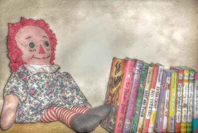 Raggedy Ann Digital Art - Raggedy Ann Doll On Bookshelf by Randy Steele
