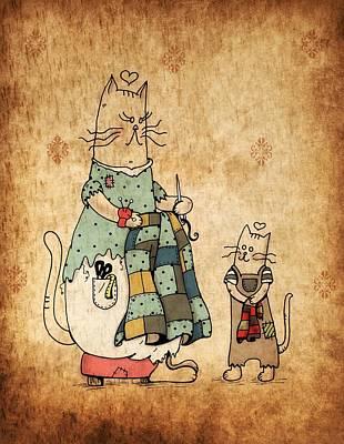 Raggedy Cats--the New Lovie Art Print