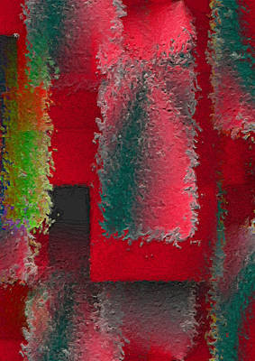 Red Abstract Digital Art - Raggedy Red by John Krakora