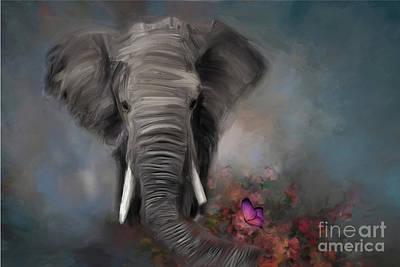 Wall Art - Digital Art - Raggy Baggy Elephant by Julie Clyde